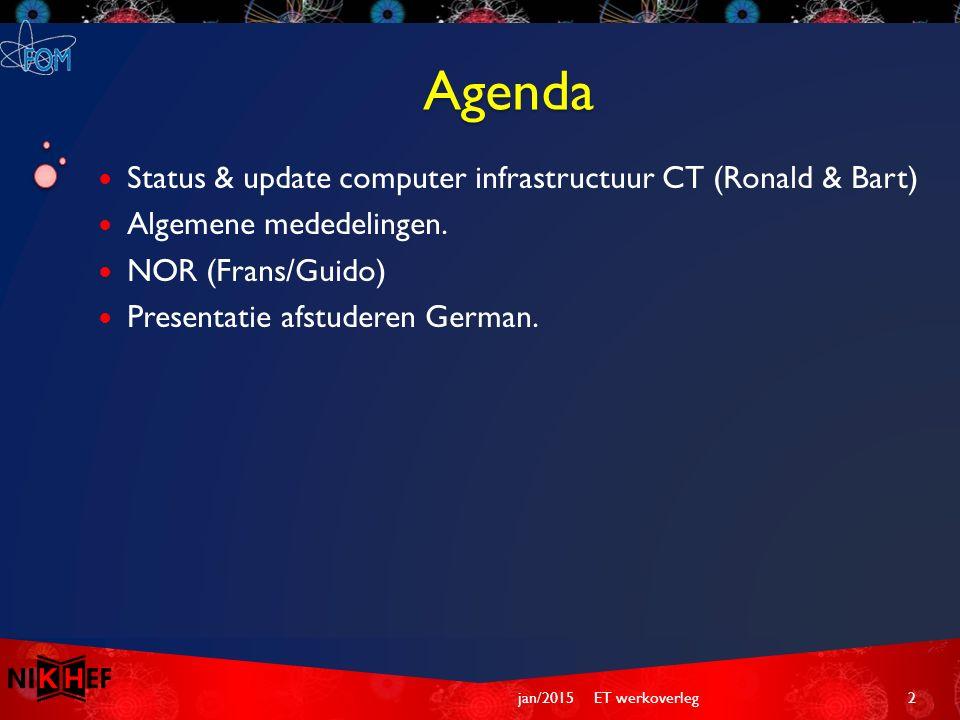 Agenda Status & update computer infrastructuur CT (Ronald & Bart) Algemene mededelingen.