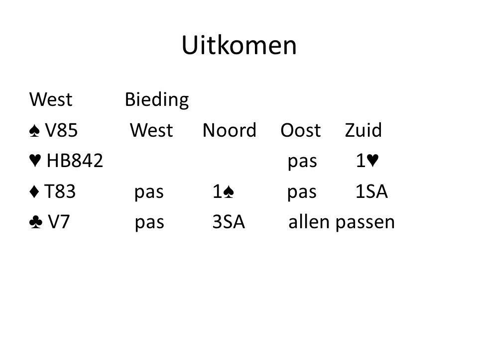 Uitkomen WestBieding ♠ V85 West Noord Oost Zuid ♥ HB842 pas 1 ♥ ♦ T83 pas 1 ♠ pas 1SA ♣ V7 pas 3SA allen passen