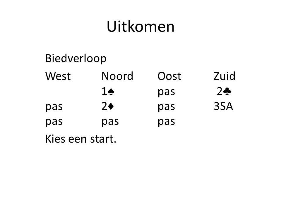 Uitkomen Biedverloop WestNoordOostZuid 1 ♠ pas 2 ♣ pas2 ♦ pas3SA paspaspas Kies een start.