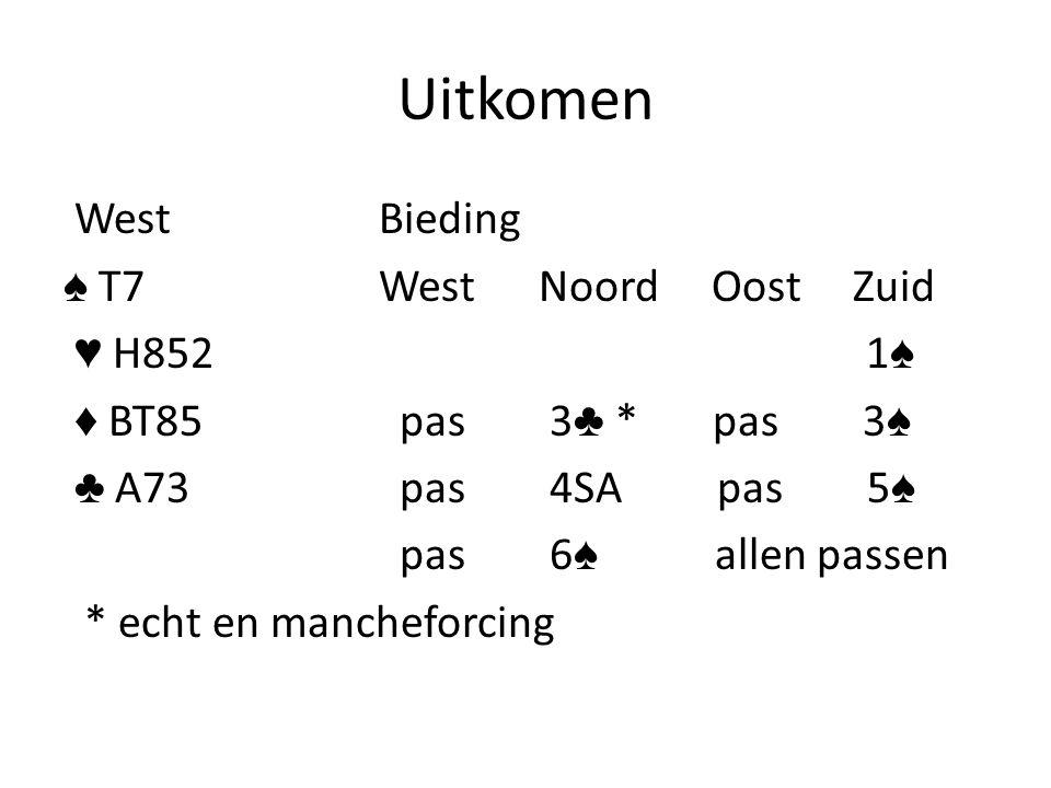Uitkomen WestBieding ♠ T7West Noord Oost Zuid ♥ H852 1 ♠ ♦ BT85 pas 3 ♣ * pas 3 ♠ ♣ A73 pas 4SA pas 5 ♠ pas 6 ♠ allen passen * echt en mancheforcing