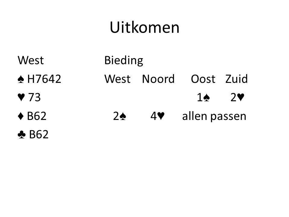 Uitkomen WestBieding ♠ H7642West NoordOost Zuid ♥ 73 1 ♠ 2 ♥ ♦ B62 2 ♠ 4 ♥ allen passen ♣ B62
