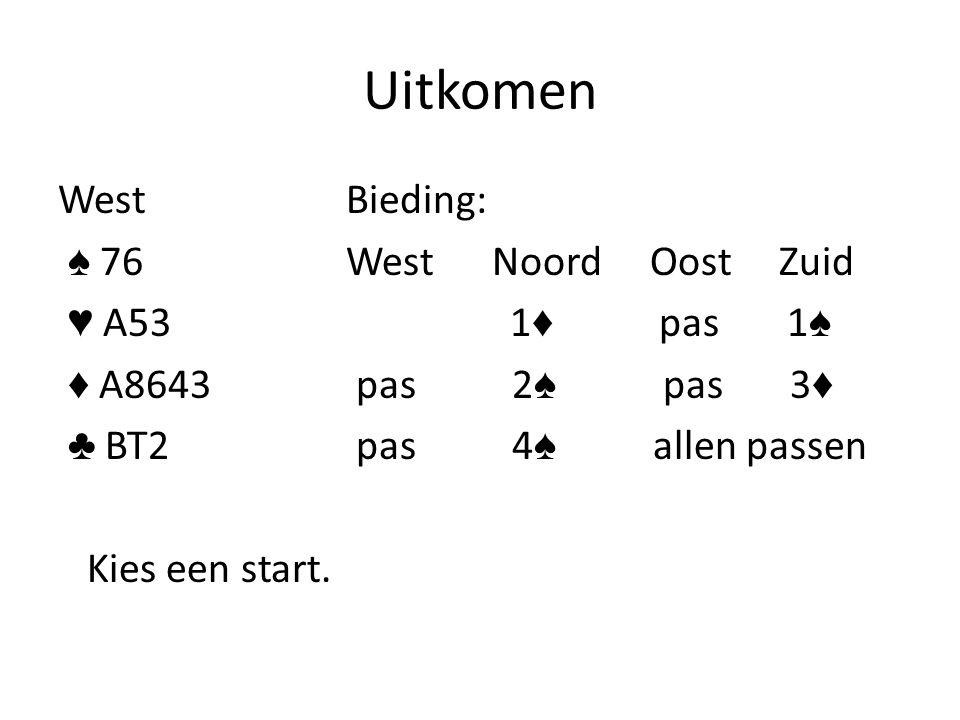 Uitkomen WestBieding: ♠ 76 West Noord Oost Zuid ♥ A53 1 ♦ pas 1 ♠ ♦ A8643 pas 2 ♠ pas 3 ♦ ♣ BT2 pas 4 ♠ allen passen Kies een start.