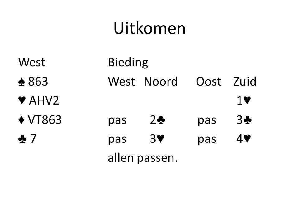 Uitkomen WestBieding ♠ 863West Noord Oost Zuid ♥ AHV2 1 ♥ ♦ VT863pas 2 ♣ pas 3 ♣ ♣ 7pas 3 ♥ pas 4 ♥ allen passen.