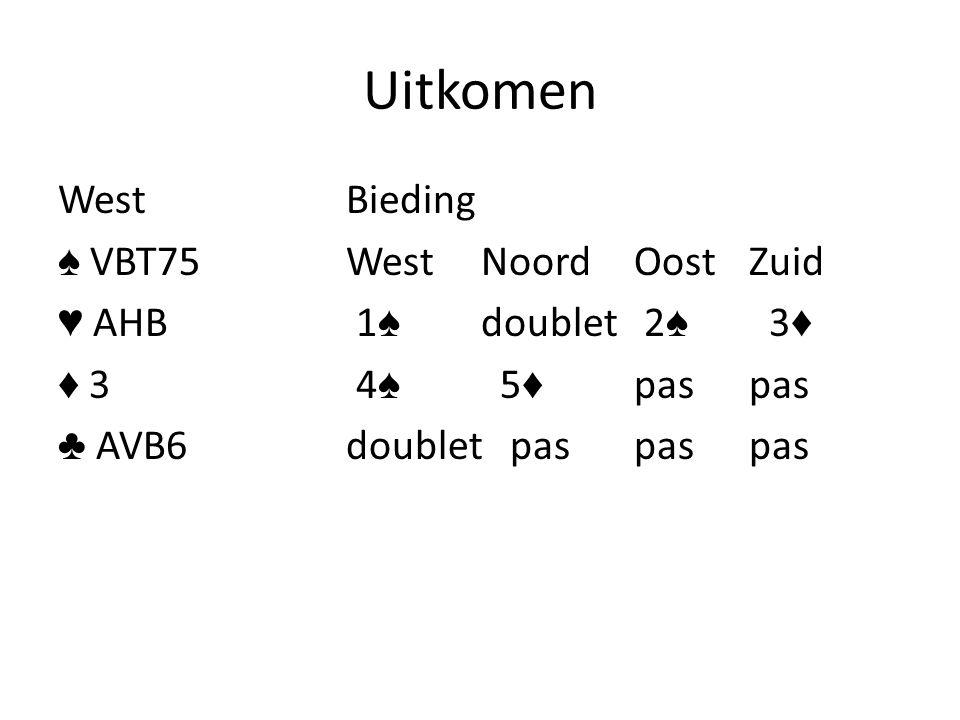 Uitkomen WestBieding ♠ VBT75West NoordOost Zuid ♥ AHB 1 ♠ doublet 2 ♠ 3 ♦ ♦ 3 4 ♠ 5 ♦ pas pas ♣ AVB6doublet paspas pas