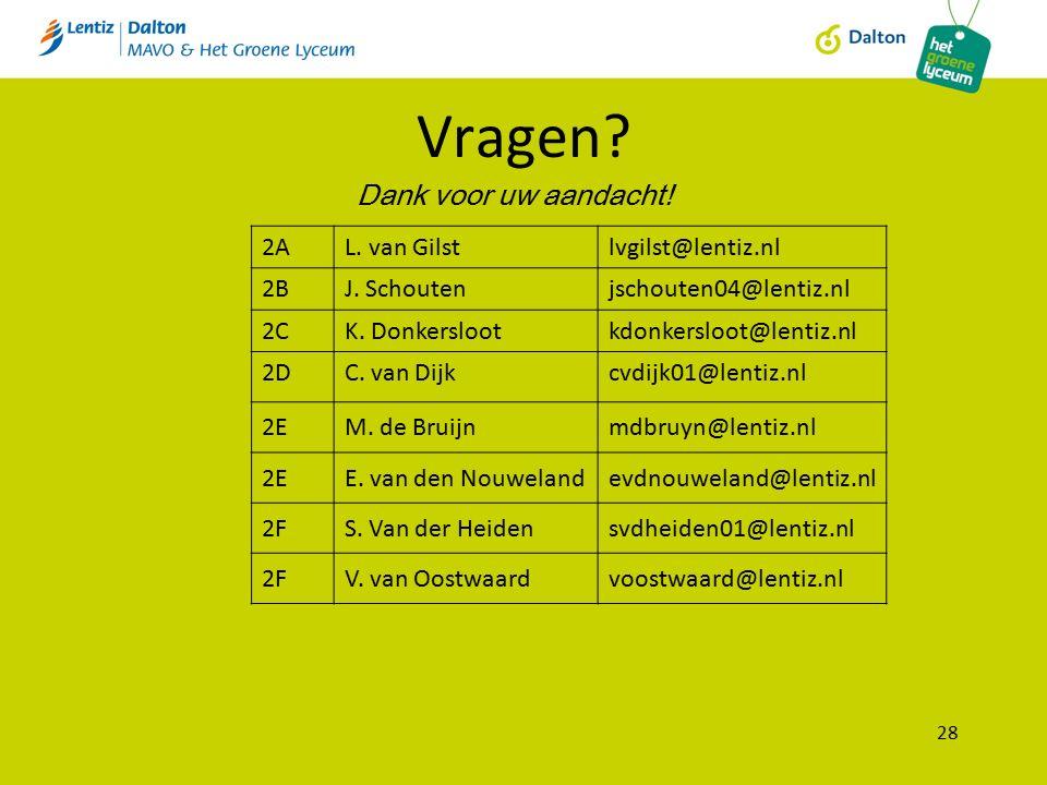 Vragen? 28 Dank voor uw aandacht! 2AL. van Gilstlvgilst@lentiz.nl 2BJ. Schoutenjschouten04@lentiz.nl 2CK. Donkerslootkdonkersloot@lentiz.nl 2DC. van D