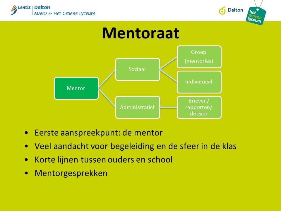 Mentoraat Eerste aanspreekpunt: de mentor Veel aandacht voor begeleiding en de sfeer in de klas Korte lijnen tussen ouders en school Mentorgesprekken