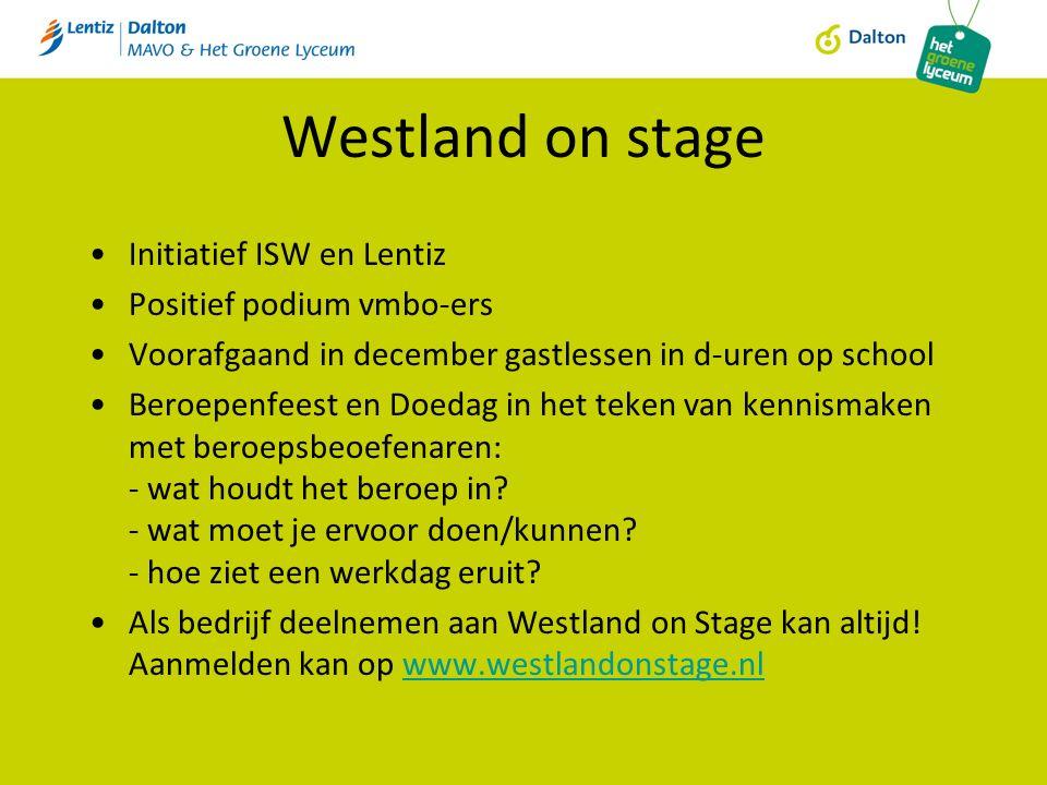 Westland on stage Initiatief ISW en Lentiz Positief podium vmbo-ers Voorafgaand in december gastlessen in d-uren op school Beroepenfeest en Doedag in het teken van kennismaken met beroepsbeoefenaren: - wat houdt het beroep in.
