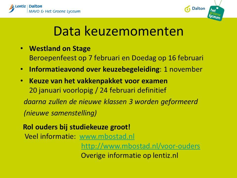 Data keuzemomenten Westland on Stage Beroepenfeest op 7 februari en Doedag op 16 februari Informatieavond over keuzebegeleiding: 1 november Keuze van