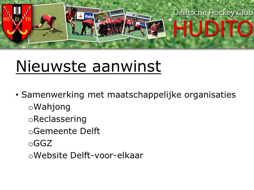 Nieuwste aanwinst Samenwerking met maatschappelijke organisaties o Wahjong o Reclassering o Gemeente Delft o GGZ o Website Delft-voor-elkaar