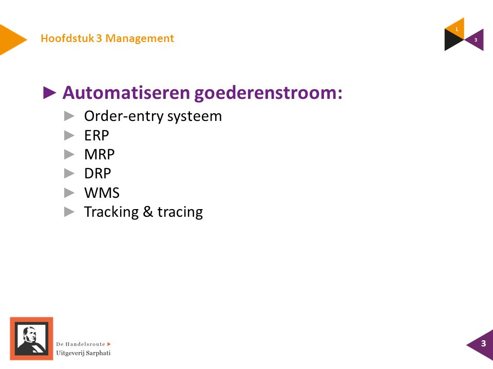 Hoofdstuk 3 Management 3 ► Automatiseren goederenstroom: ► Order-entry systeem ► ERP ► MRP ► DRP ► WMS ► Tracking & tracing