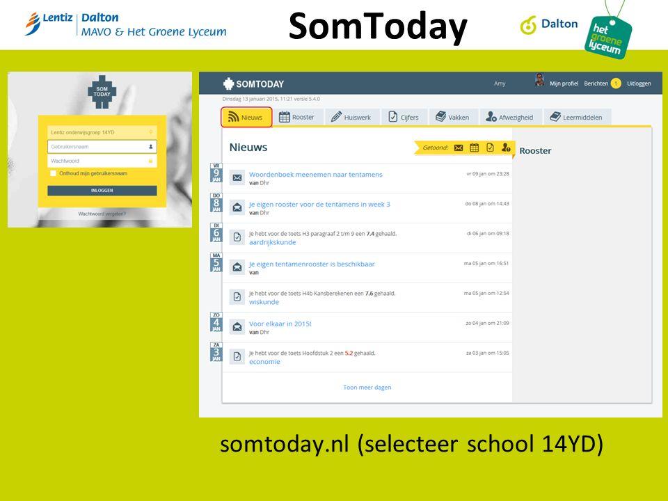 SomToday somtoday.nl (selecteer school 14YD)