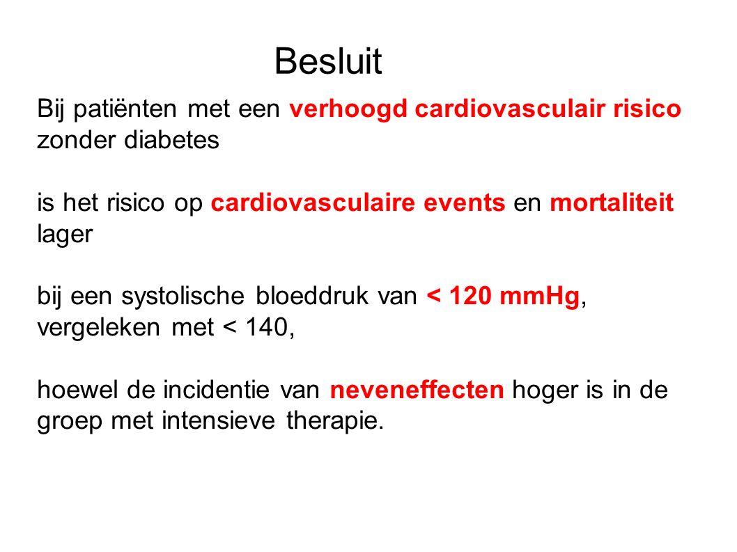 Besluit Bij patiënten met een verhoogd cardiovasculair risico zonder diabetes is het risico op cardiovasculaire events en mortaliteit lager bij een systolische bloeddruk van < 120 mmHg, vergeleken met < 140, hoewel de incidentie van neveneffecten hoger is in de groep met intensieve therapie.