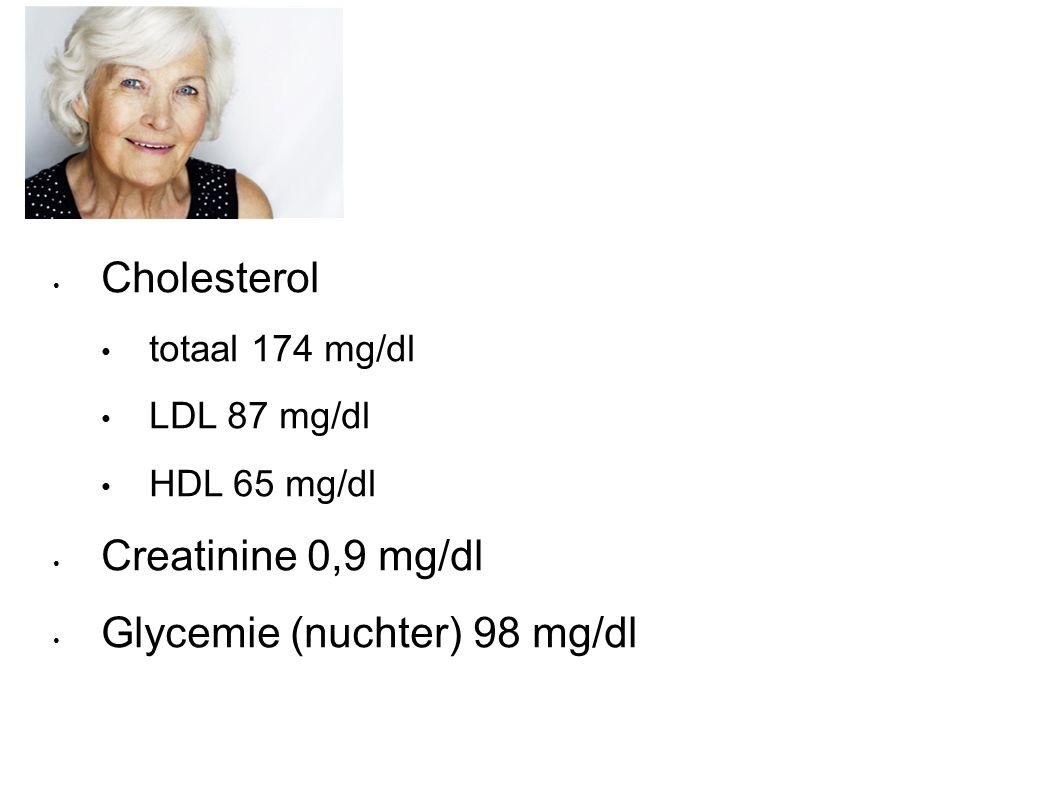 Cholesterol totaal 174 mg/dl LDL 87 mg/dl HDL 65 mg/dl Creatinine 0,9 mg/dl Glycemie (nuchter) 98 mg/dl