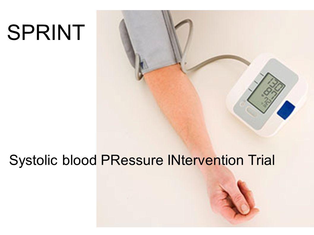 Inclusiecriteria: - Systolisch bloeddruk 130-180 mmHg - Leeftijd > 50 ans - Verhoogd cardiovasculair risico > 1 van onderstaande: - atteinte cardiovasculaire - IRC: MDRD 20-60 ml/min./1,73m² - âge >75 ans - Framingham >15% Exclusiecriteria: - diabetes - CVA - verblijvend in residentiële zorg 9361 patients <140 mmHg <120 mmHg