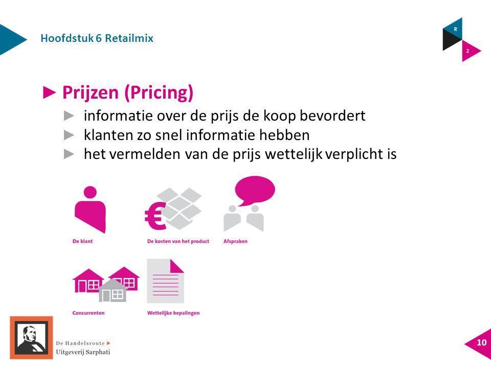 Hoofdstuk 6 Retailmix 10 ► Prijzen (Pricing) ► informatie over de prijs de koop bevordert ► klanten zo snel informatie hebben ► het vermelden van de prijs wettelijk verplicht is