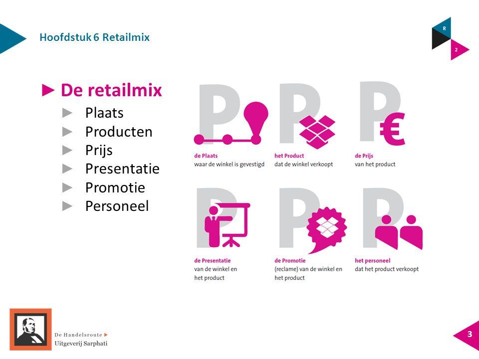 Hoofdstuk 6 Retailmix 3 ► De retailmix ► Plaats ► Producten ► Prijs ► Presentatie ► Promotie ► Personeel