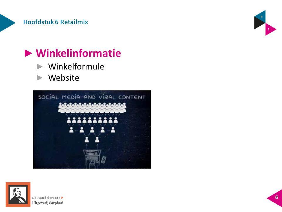 Hoofdstuk 6 Retailmix 6 ► Winkelinformatie ► Winkelformule ► Website