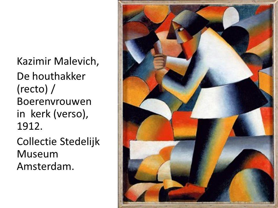 Kazimir Malevich, De houthakker (recto) / Boerenvrouwen in kerk (verso), 1912.