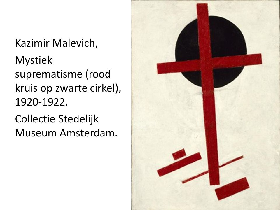 Kazimir Malevich, Mystiek suprematisme (rood kruis op zwarte cirkel), 1920-1922.