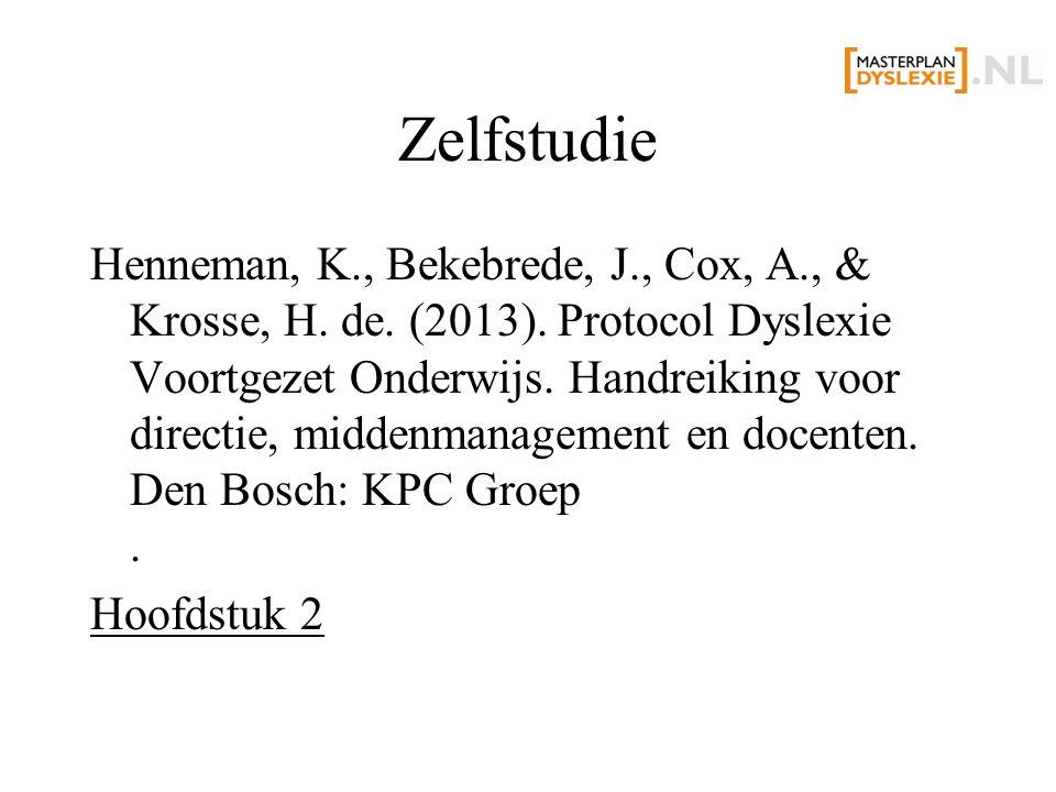 Zelfstudie Henneman, K., Bekebrede, J., Cox, A., & Krosse, H.