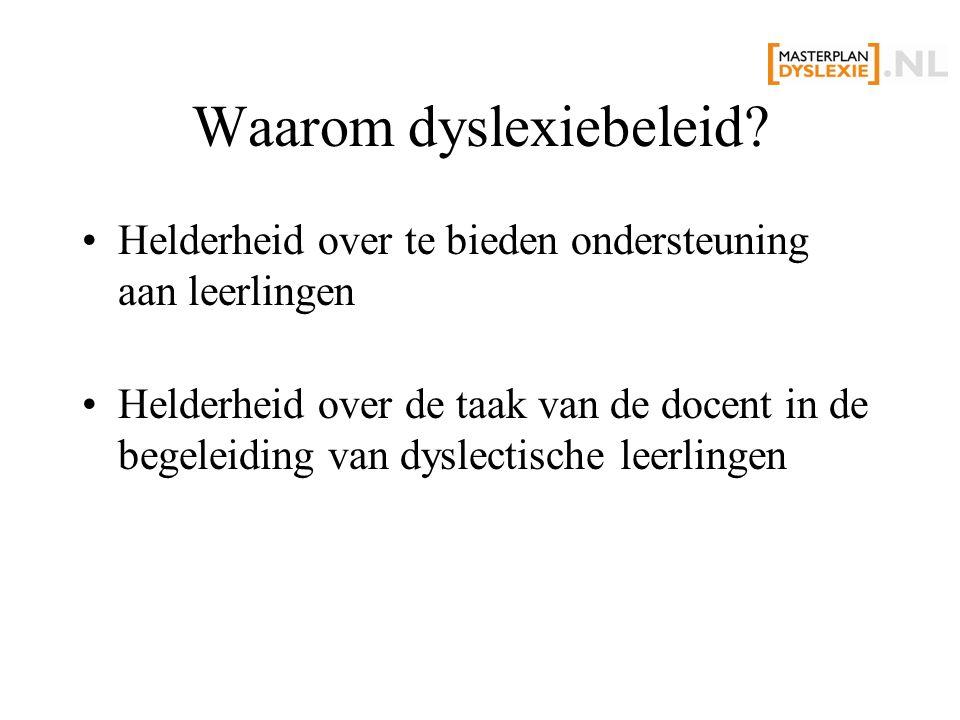 Waarom dyslexiebeleid.