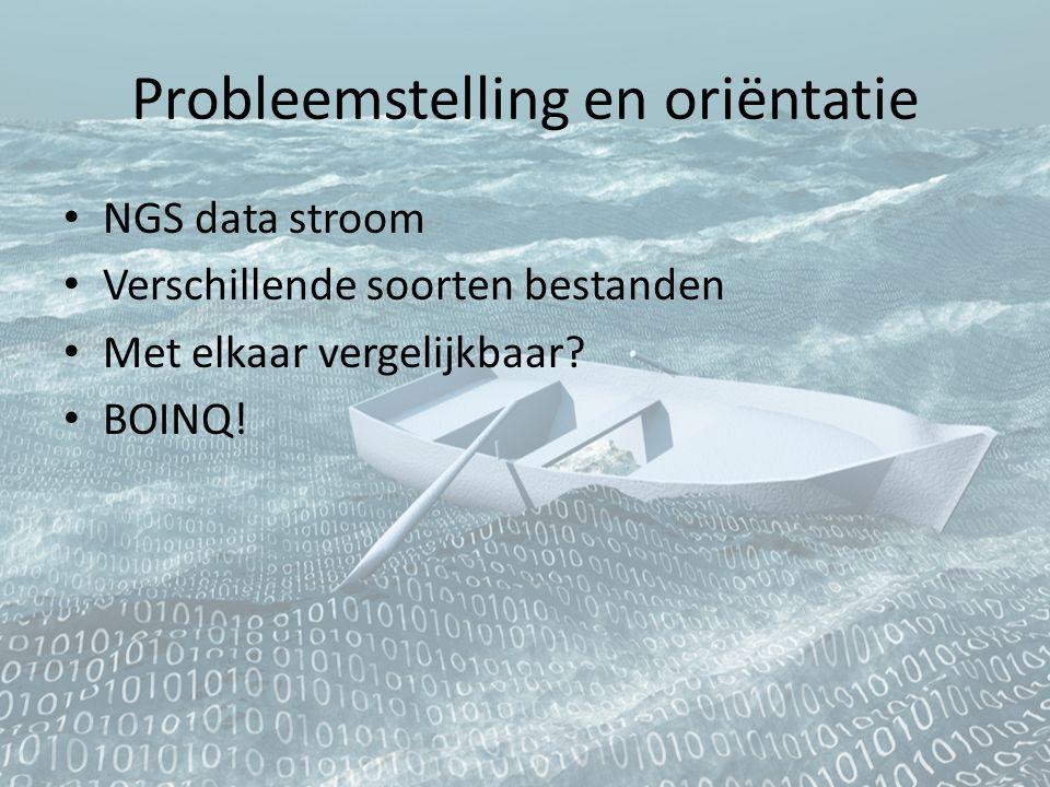 Probleemstelling en oriëntatie NGS data stroom Verschillende soorten bestanden Met elkaar vergelijkbaar? BOINQ!