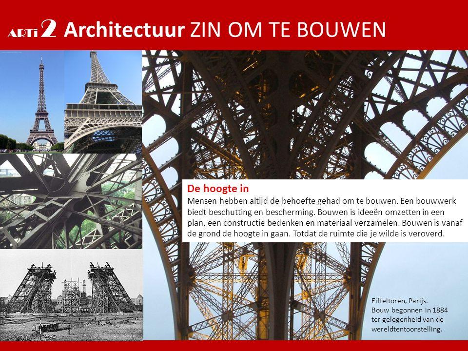 ARTi 2 Architectuur ZIN OM TE BOUWEN De hoogte in Mensen hebben altijd de behoefte gehad om te bouwen. Een bouwwerk biedt beschutting en bescherming.