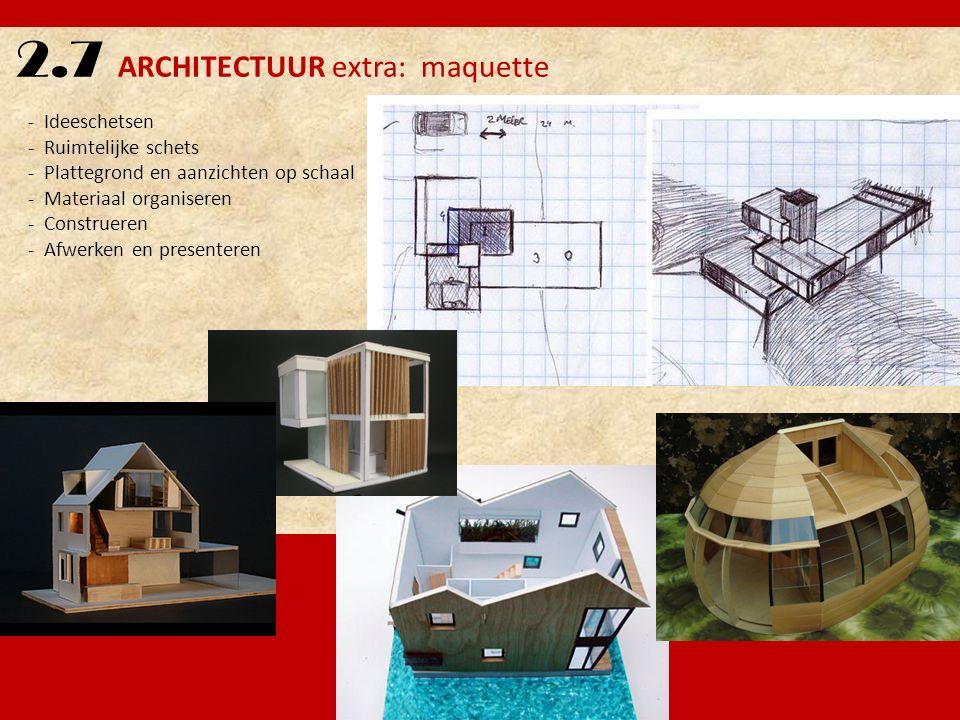 2.7 ARCHITECTUUR extra: maquette - Ideeschetsen - Ruimtelijke schets - Plattegrond en aanzichten op schaal - Materiaal organiseren - Construeren - Afw