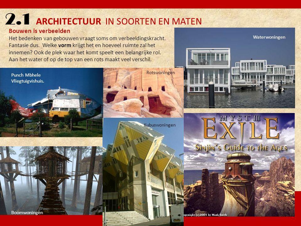 2.1 ARCHITECTUUR IN SOORTEN EN MATEN Waterwoningen Punch Mbhele Vliegtuigvishuis. Bouwen is verbeelden Het bedenken van gebouwen vraagt soms om verbee