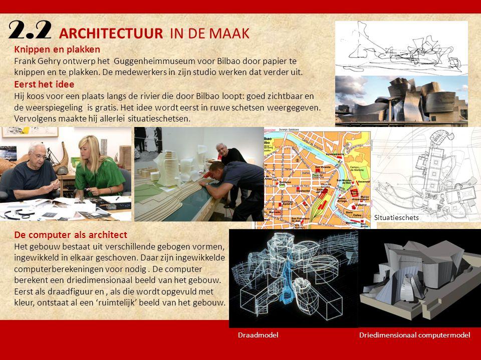 2.2 ARCHITECTUUR IN DE MAAK Knippen en plakken Frank Gehry ontwerp het Guggenheimmuseum voor Bilbao door papier te knippen en te plakken. De medewerke