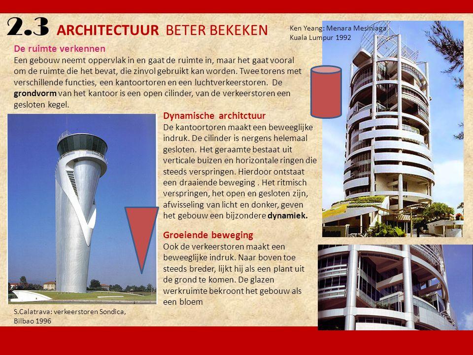 2.3 ARCHITECTUUR BETER BEKEKEN De ruimte verkennen Een gebouw neemt oppervlak in en gaat de ruimte in, maar het gaat vooral om de ruimte die het bevat