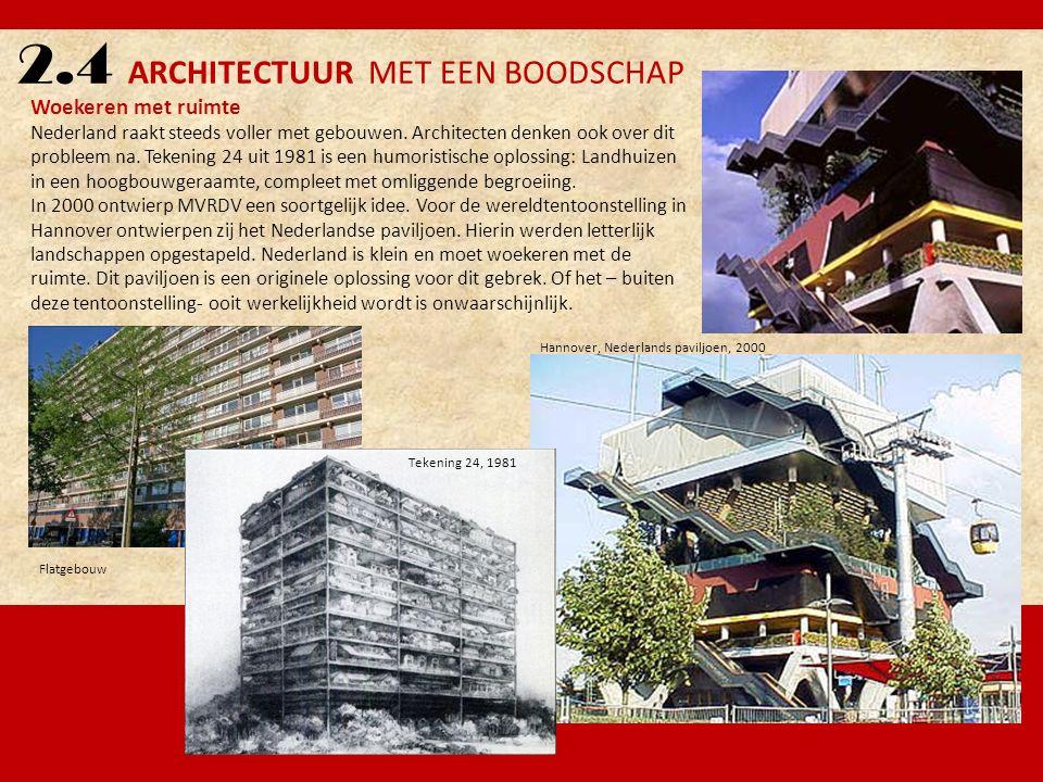 2.4 ARCHITECTUUR MET EEN BOODSCHAP Woekeren met ruimte Nederland raakt steeds voller met gebouwen. Architecten denken ook over dit probleem na. Tekeni