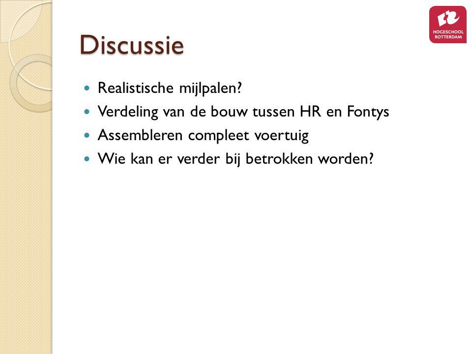 Discussie Realistische mijlpalen? Verdeling van de bouw tussen HR en Fontys Assembleren compleet voertuig Wie kan er verder bij betrokken worden?