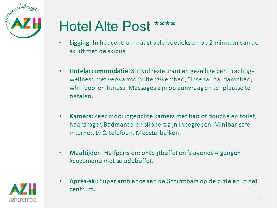 Hotel Alte Post **** Ligging: In het centrum naast vele boetieks en op 2 minuten van de skilift met de skibus Hotelaccommodatie: Stijlvol restaurant en gezellige bar.