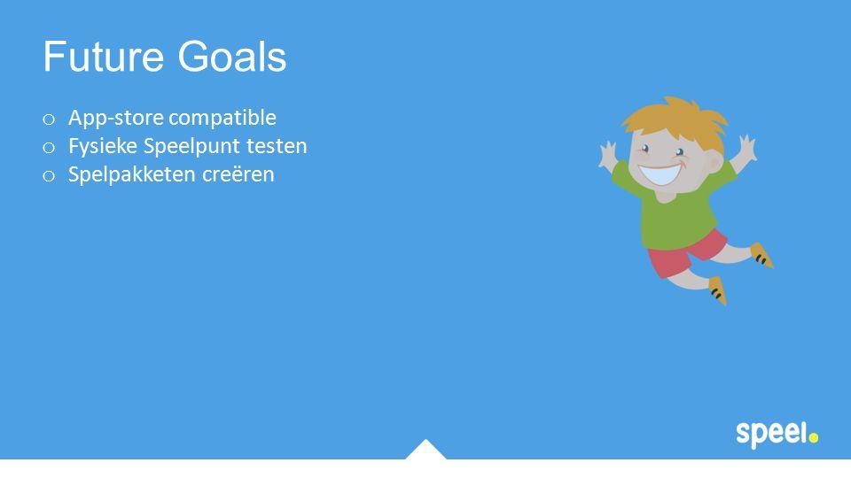 o App-store compatible o Fysieke Speelpunt testen o Spelpakketen creëren Future Goals