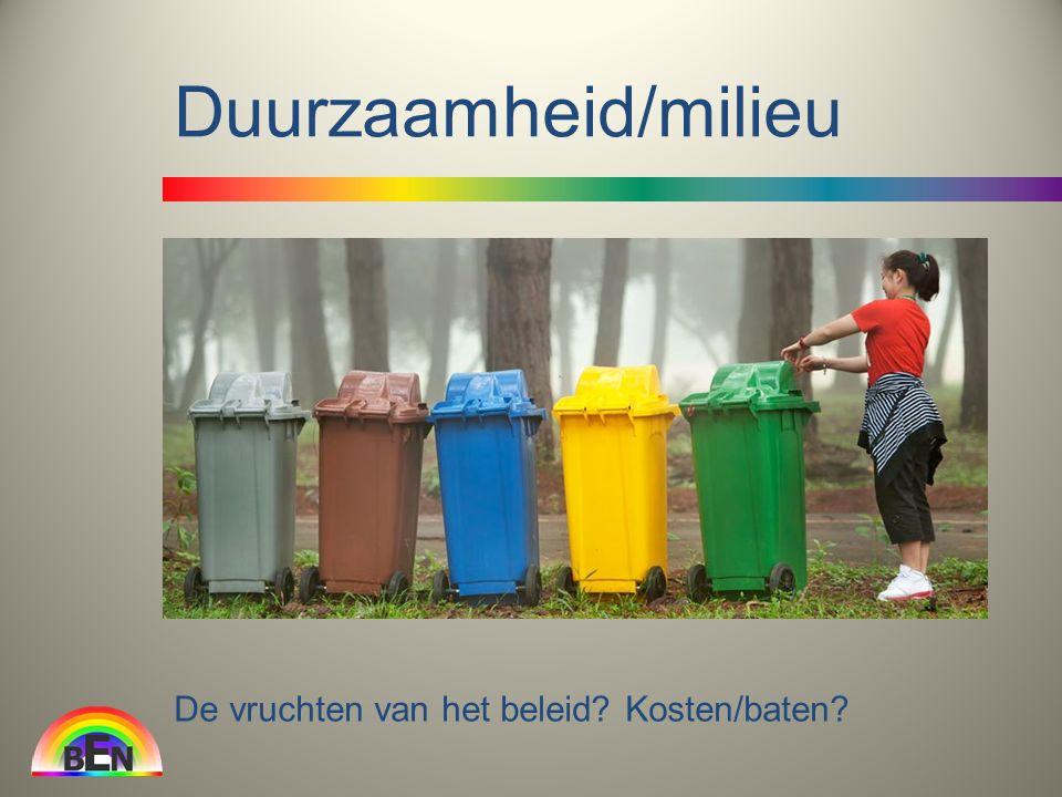 Duurzaamheid/milieu De vruchten van het beleid Kosten/baten