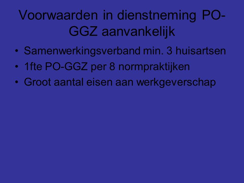 Nieuwe voorwaarden in dienstneming PO-GGZ Samenwerkingseis vervallen Nog steeds 1fte op basis van 8 normpraktijken Eisen werkgeverschap ???