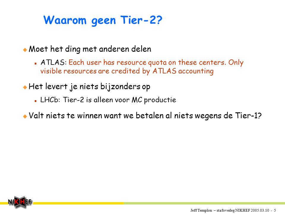 Jeff Templon – stafoverleg NIKHEF 2005.03.10 - 5 Waarom geen Tier-2? u Moet het ding met anderen delen n ATLAS: Each user has resource quota on these