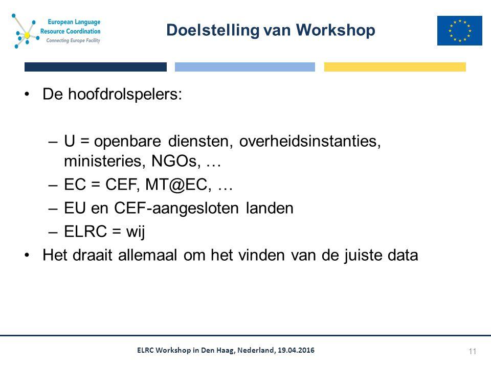 ELRC Workshop in Den Haag, Nederland, 19.04.2016 De hoofdrolspelers: –U = openbare diensten, overheidsinstanties, ministeries, NGOs, … –EC = CEF, MT@EC, … –EU en CEF-aangesloten landen –ELRC = wij Het draait allemaal om het vinden van de juiste data Doelstelling van Workshop 11