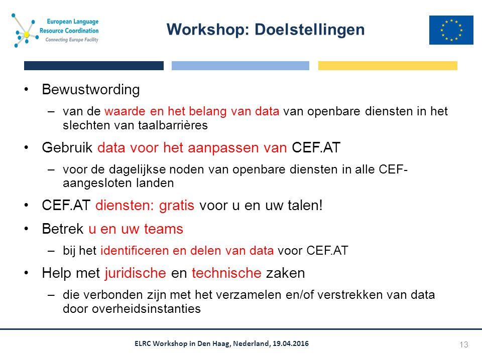 ELRC Workshop in Den Haag, Nederland, 19.04.2016 Bewustwording –van de waarde en het belang van data van openbare diensten in het slechten van taalbarrières Gebruik data voor het aanpassen van CEF.AT –voor de dagelijkse noden van openbare diensten in alle CEF- aangesloten landen CEF.AT diensten: gratis voor u en uw talen.