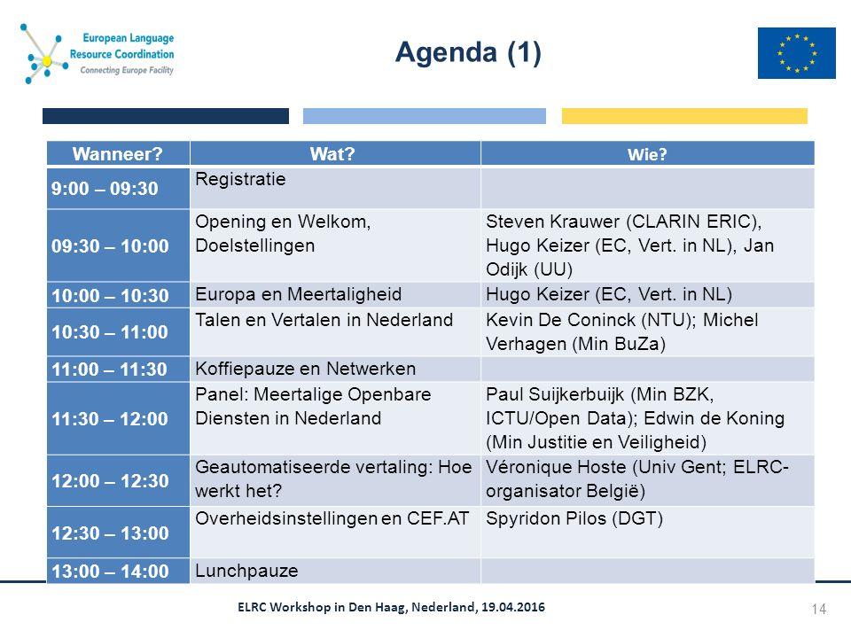 ELRC Workshop in Den Haag, Nederland, 19.04.2016 Agenda (1) 14 Wanneer Wat.