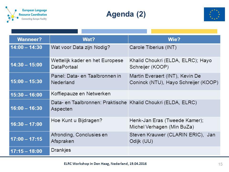 ELRC Workshop in Den Haag, Nederland, 19.04.2016 Agenda (2) 15 Wanneer Wat Wie.