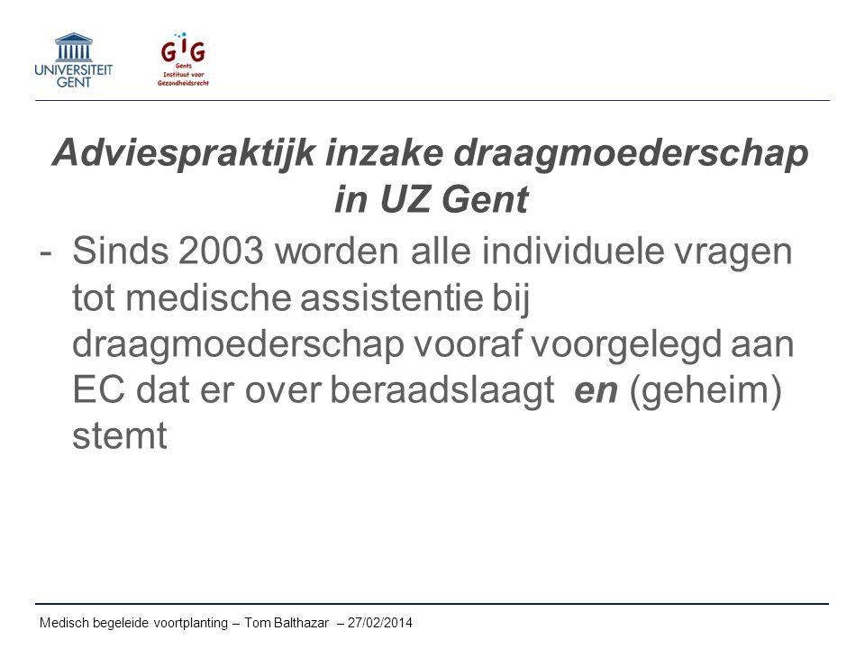Adviespraktijk inzake draagmoederschap in UZ Gent -Sinds 2003 worden alle individuele vragen tot medische assistentie bij draagmoederschap vooraf voor
