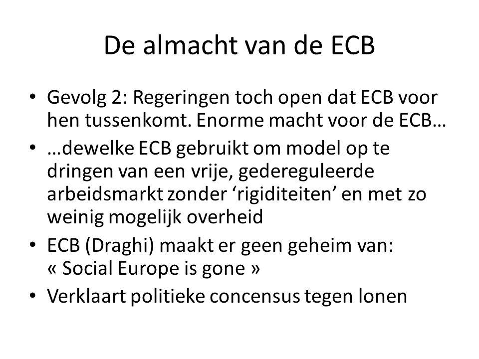 De almacht van de ECB Gevolg 2: Regeringen toch open dat ECB voor hen tussenkomt. Enorme macht voor de ECB… …dewelke ECB gebruikt om model op te dring