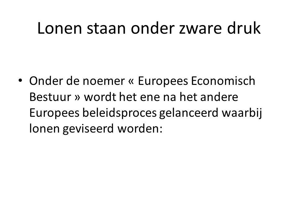 Lonen staan onder zware druk Onder de noemer « Europees Economisch Bestuur » wordt het ene na het andere Europees beleidsproces gelanceerd waarbij lonen geviseerd worden: