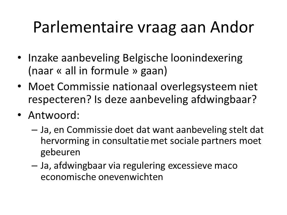 Parlementaire vraag aan Andor Inzake aanbeveling Belgische loonindexering (naar « all in formule » gaan) Moet Commissie nationaal overlegsysteem niet respecteren.