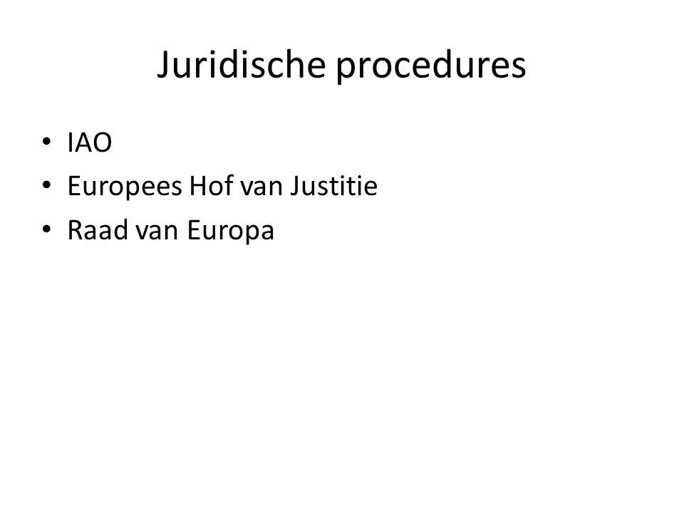 Juridische procedures IAO Europees Hof van Justitie Raad van Europa