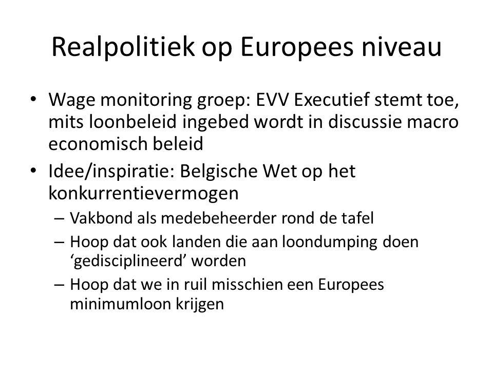Realpolitiek op Europees niveau Wage monitoring groep: EVV Executief stemt toe, mits loonbeleid ingebed wordt in discussie macro economisch beleid Ide