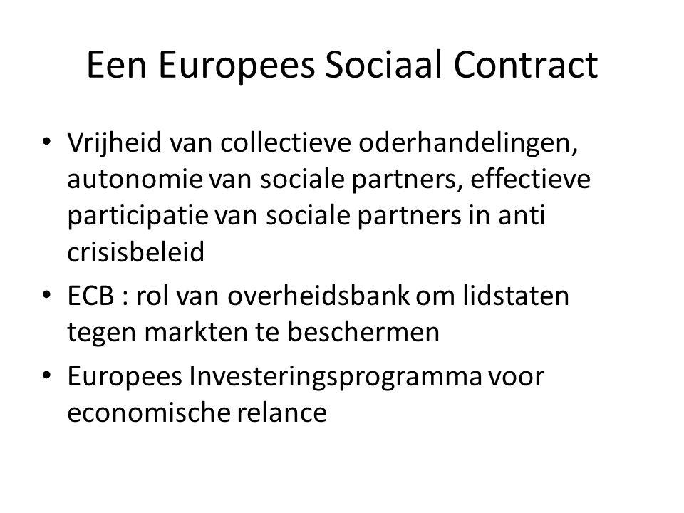Een Europees Sociaal Contract Vrijheid van collectieve oderhandelingen, autonomie van sociale partners, effectieve participatie van sociale partners in anti crisisbeleid ECB : rol van overheidsbank om lidstaten tegen markten te beschermen Europees Investeringsprogramma voor economische relance