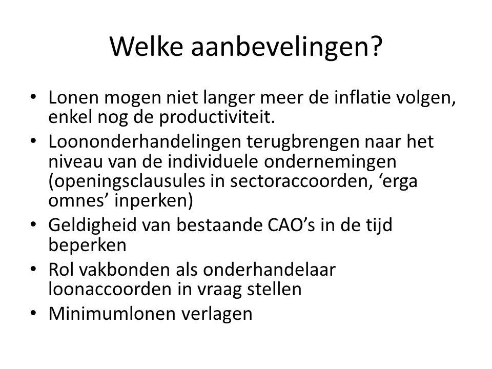 Welke aanbevelingen? Lonen mogen niet langer meer de inflatie volgen, enkel nog de productiviteit. Loononderhandelingen terugbrengen naar het niveau v